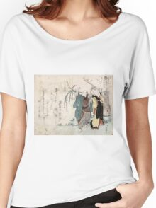 Four Cottonballs Blooming On A Willow - anon - 1814 - woodcut Women's Relaxed Fit T-Shirt