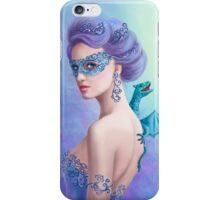 Fantasy winter woman, beautiful snow queen in mask with blue dragon iPhone Case/Skin