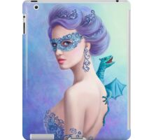 Fantasy winter woman, beautiful snow queen in mask with blue dragon iPad Case/Skin