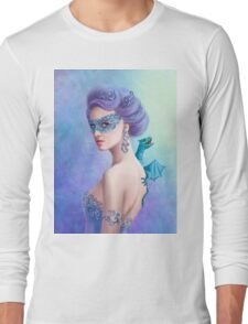 Fantasy winter woman, beautiful snow queen in mask with blue dragon Long Sleeve T-Shirt