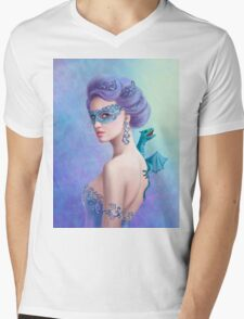 Fantasy winter woman, beautiful snow queen in mask with blue dragon Mens V-Neck T-Shirt