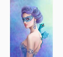 Fantasy winter woman, beautiful snow queen in mask with blue dragon T-Shirt