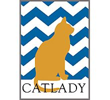 Catlady - Blue Chevron Photographic Print