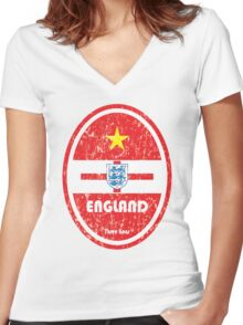 World Cup Football 6/8 - England (Distressed) Women's Fitted V-Neck T-Shirt