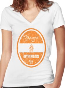 World Cup Football - Netherlands (Distressed) Women's Fitted V-Neck T-Shirt