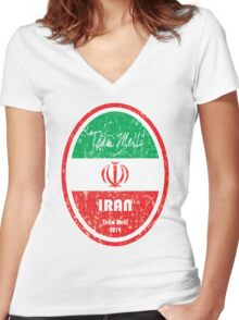 World Cup Football - Iran Women's Fitted V-Neck T-Shirt
