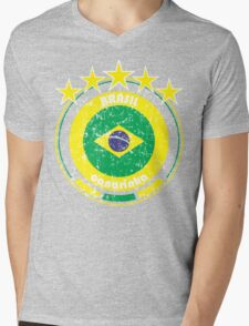 World Cup Football 1/8 - Team Brasil (distressed) Mens V-Neck T-Shirt