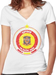 World Cup Football 8/8 - Team Espana (distressed) Women's Fitted V-Neck T-Shirt