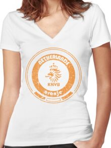 World Cup Football - Team Netherlands (distressed) Women's Fitted V-Neck T-Shirt
