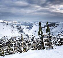 Snow covered Winnats Pass, Peak District, UK by jamesdt