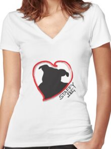 Staffy Dog in My Heart Women's Fitted V-Neck T-Shirt