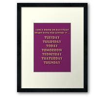 Drinking Days (Red) Framed Print