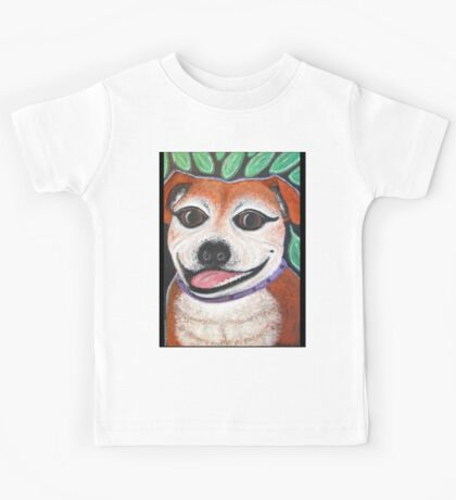 Gracie May Staffy Dog under the lime tree Kids Tee