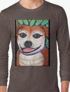 Gracie May Staffy Dog under the lime tree Long Sleeve T-Shirt