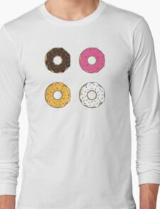Tasty Donuts Pattern Long Sleeve T-Shirt