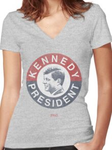 Vintage 1960 Kennedy for President T-Shirt Women's Fitted V-Neck T-Shirt