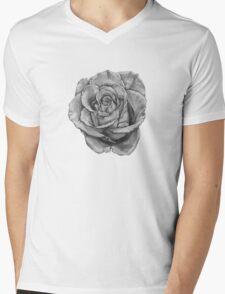 Black And Grey Rose Mens V-Neck T-Shirt