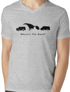 Where's The Goat? (Black) Mens V-Neck T-Shirt