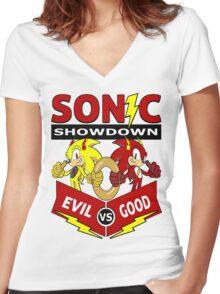 Sonic Showdown Women's Fitted V-Neck T-Shirt
