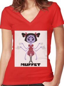 Muffet Color Women's Fitted V-Neck T-Shirt
