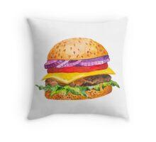 Watercolor Hamburger Throw Pillow