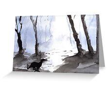 Running Greyhound - Mystical Wood Greeting Card