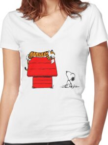 Snoopy And Hobbes Women's Fitted V-Neck T-Shirt
