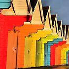 Pretty Beach Chalets by Sue Gurney