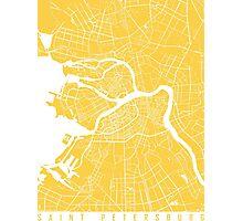 Saint Petersburg map yellow Photographic Print