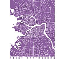 Saint Petersburg map lilac Photographic Print
