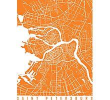 Saint Petersburg map orange Photographic Print