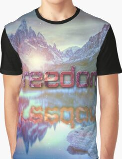 Freedom Snow Mountain  Graphic T-Shirt