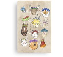 Flowered Zodiac Canvas Print