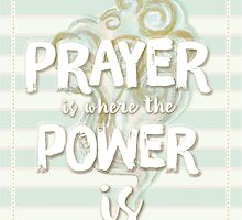 Pastel Stripy Blue And Cream Powerful Prayer Quote by TheFinerThemes