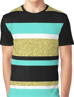 Gold turquoise black  stripes pattern Graphic T-Shirt