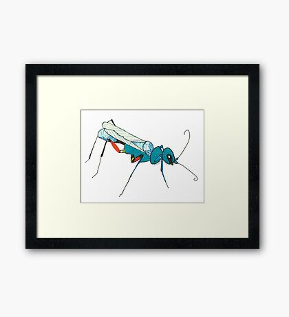 Blue Wasp Bug Insect Cute Illustration Drawing Unique Framed Print
