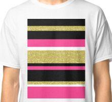 Gold fuchsia stripes pattern Classic T-Shirt