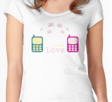 Mobile phone, cyber love, texting, messaging, love letter, sms Women's Fitted Scoop T-Shirt