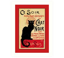 The black cat, le chat noir famous art nouveau ad  Art Print