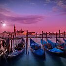 VENICE Gondolas at Sunset by Melanie Viola