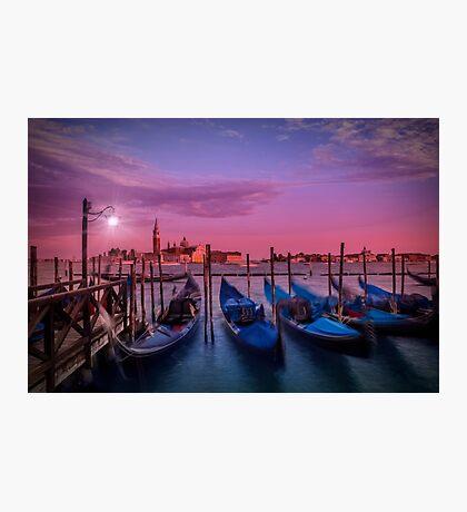 VENICE Gondolas at Sunset Photographic Print