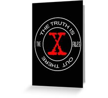 X-Files, red, white, black logo design Greeting Card