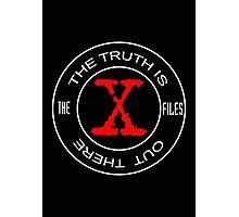 X-Files, red, white, black logo design Photographic Print