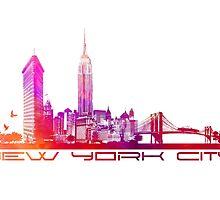 New York City skyline purple by JBJart