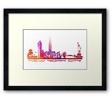 New York City skyline purple Framed Print