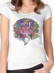 Rainbow Hiding Fox Women's Fitted Scoop T-Shirt