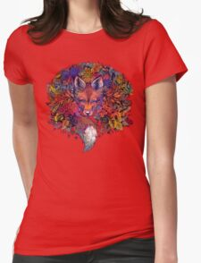 Rainbow Hiding Fox Womens Fitted T-Shirt