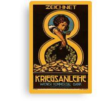 Austrian vintage litho bank loan advert, child, gold coins Canvas Print