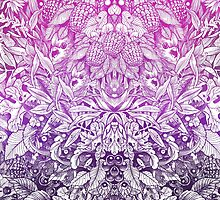 Pink and Purple Summer Forest Pattern Drawing by saraknid