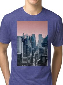 city skyline illustration  Tri-blend T-Shirt